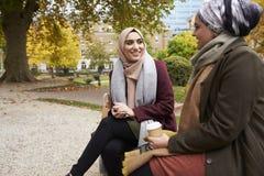 Deux femmes musulmanes britanniques mangeant le déjeuner en parc ensemble Image libre de droits
