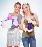 Deux femmes nettoie quelque chose avec la mèche et le jet attentivement images stock