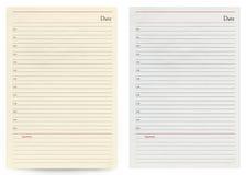 Deux feuilles en blanc de carnet d'isolement sur le fond blanc Photo stock