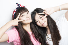 Deux filles asiatiques de sourire Images libres de droits