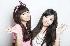 Deux filles asiatiques de sourire Photos libres de droits