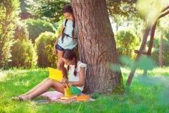Deux filles assez petites lisant en parc Images libres de droits