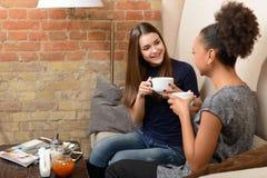 Deux filles attirantes dans le café Image stock