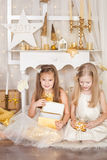 Deux filles avec des cadeaux de Noël Photographie stock libre de droits
