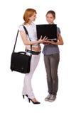 Deux filles avec le cahier Image libre de droits