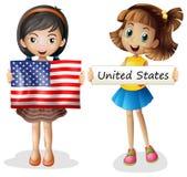 Deux filles avec le drapeau des Etats-Unis illustration libre de droits