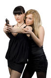 Deux filles avec un canon Photo stock