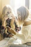 Deux filles ayant l'amusement tout en buvant du café Images stock