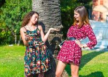 Deux filles ayant un argument photographie stock