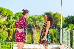 Deux filles ayant un argument photographie stock libre de droits