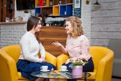 Deux filles buvant du café dans un café Images stock