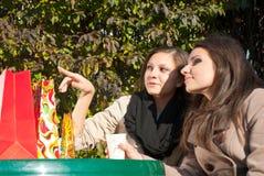 Deux filles buvant du café et du thé Image libre de droits