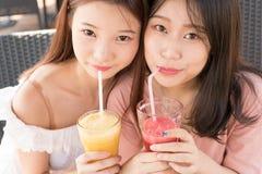 Deux filles buvant du jus Photographie stock