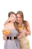 Deux filles célèbrent Noël Image libre de droits