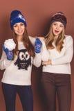Deux filles d'adolescent dans des vêtements d'hiver Images libres de droits