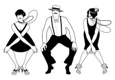 Deux filles d'aileron et un homme dansant Charleston illustration de vecteur