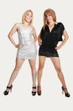 Deux filles dans la robe courte. Photo stock