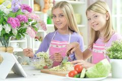 Deux filles dans les tabliers roses préparant la salade fraîche photo stock