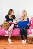 Deux filles de l'adolescence faisant le travail ensemble Images stock