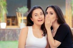 Deux filles de meilleur ami chuchotant un secret Photographie stock