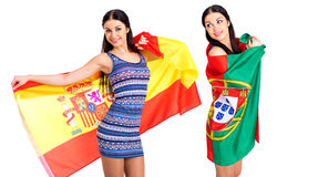 Deux filles de soeur - le Portugal et l'Espagne - amis pour toujours Images libres de droits