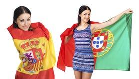 Deux filles de soeur - le Portugal et l'Espagne - amis pour toujours Image libre de droits