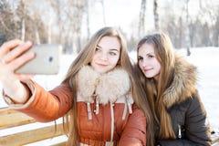 Deux filles de sourire font le selfie en parc d'hiver Photos stock
