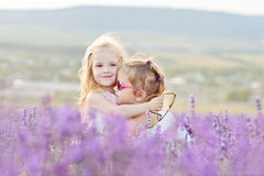 Deux filles heureuses dans le domaine Photographie stock