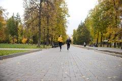 Deux filles heureuses pulsant en parc et sourire d'automne images libres de droits