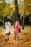 Deux filles jetant des feuilles en parc d'automne Images libres de droits