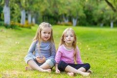 Deux filles mignonnes jouant dans le pair Photo stock