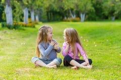 Deux filles mignonnes jouant dans le pair Image stock