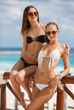 Deux filles parlant dans un café près de la mer Image stock