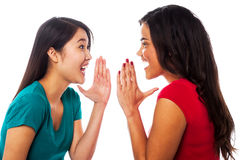 Deux filles partageant leurs secrets Photographie stock