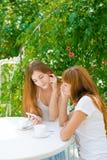Deux filles regardant le téléphone portable Image libre de droits