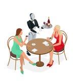 Deux filles s'asseyent dans un café Serveur de robot dans le smoking et gants tenant un vin et un plateau et une serviette de gob illustration libre de droits
