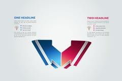 Deux flèches 2 étapes diagram, des éléments, diagrammes, infographics Images libres de droits