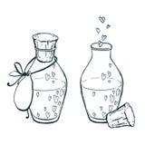 Deux flacons d'uncolor avec le style dessiné d'icône de coeurs à disposition Élixir d'amour Photos libres de droits