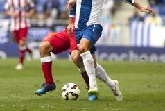 Deux footballeurs luttent Photographie stock libre de droits
