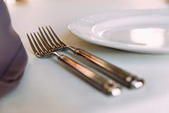 Deux fourchettes brillantes photographie stock