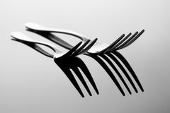 Deux fourchettes d'abstarct. Photographie stock