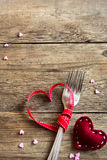Deux fourchettes et coeurs rouges Photos libres de droits
