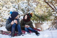 Deux frères adorables s'asseyant sur le plaid et le thé de chocolat ou chaud potable dans le jour d'hiver ensoleillé photo libre de droits