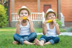 Deux frères s'asseyant sur l'herbe et manger l'épi de maïs dans le jardin images stock