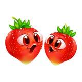 deux fraises émotives drôles avec de grands yeux photos libres de droits