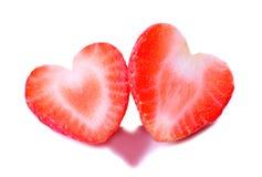 Deux fraises en forme de coeur Photo stock