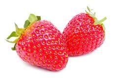 Deux fraises juteuses au-dessus de blanc Photos libres de droits