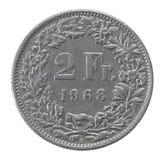 Deux francs de pièce de monnaie Images libres de droits