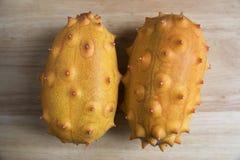 Deux fruits de Kiwano Photos libres de droits