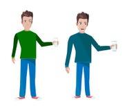 DEUX garçons avec l'illustration en verre de vecteur Photos libres de droits